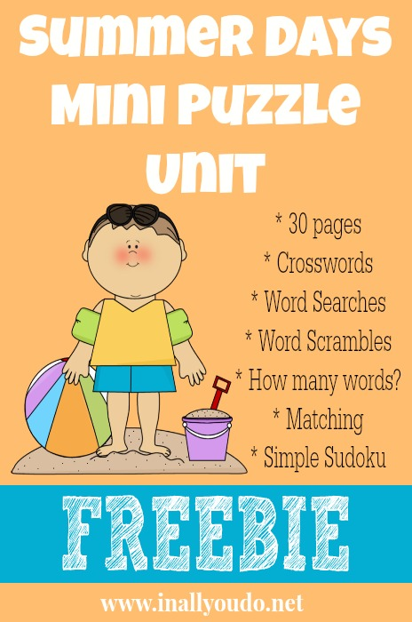 Summer Days Mini Puzzle Unit FREEBIE