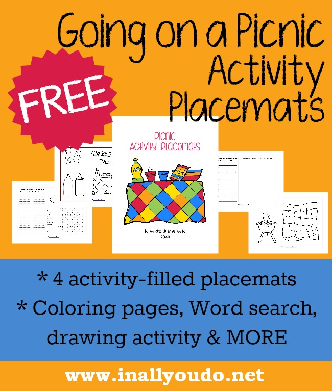 FREE Going on a Picnic Activity Placemats