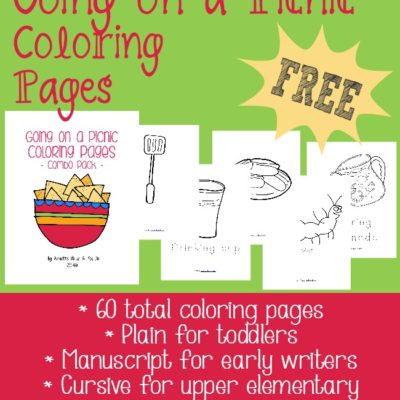 {free} Going on a Picnic Coloring Pages