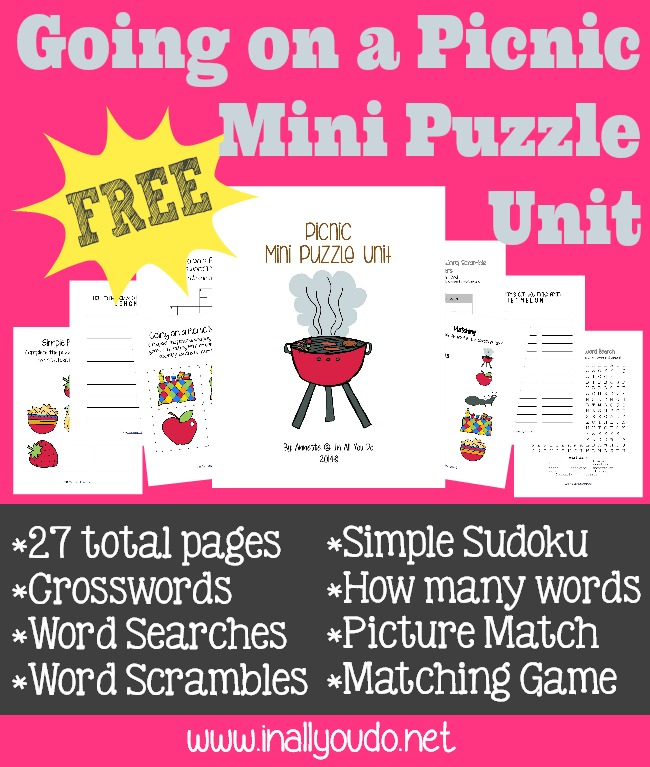 FREE Going on a Picnic Mini Puzzle Unit