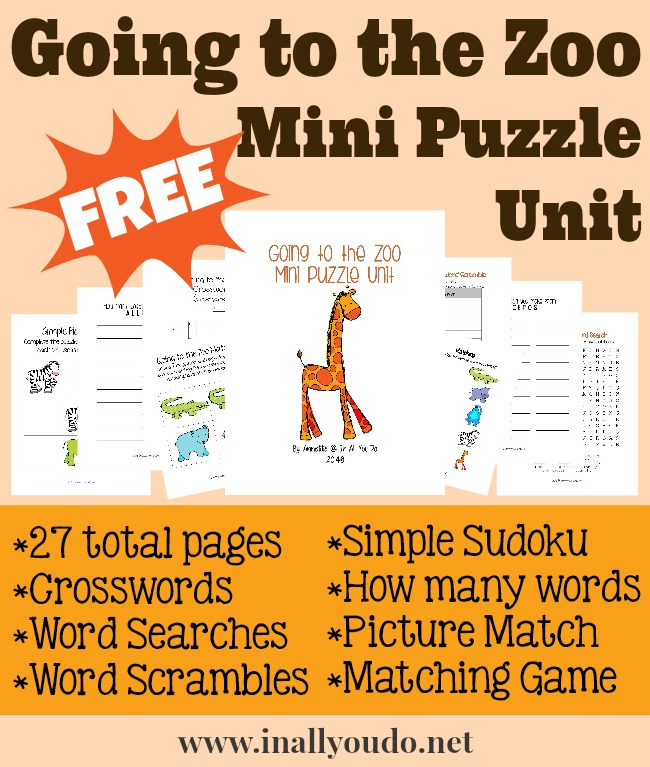 FREE Going to a Zoo Mini Puzzle Unit