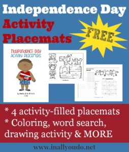 """These Independence DaythemedActivity Placemats include 4 activity-filled placemats. Perfect for a fun lunch, family dinner or to start the day. Includes two coloring pages and two activity pages withword search, make your own poem, a """"how many words can you make?"""" activity and a drawing activity. :: www.inallyoudo.net"""