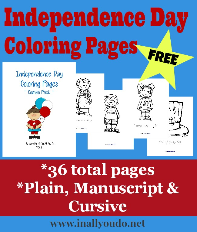 These fun Independence Day Coloring pages are perfect for any patriotic gathering. It includes 12 coloring pages in 3 different handwriting styles for a total of 36 fun pages. :: www.inallyoudo.net