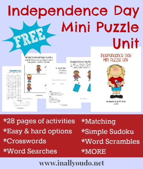 Kids will have fun with this Independence Day mini puzzle and activity pack! Includes 28 pages of Crosswords, Word Searches, Sudoku, Matching & MORE!! :: www.inallyoudo.net