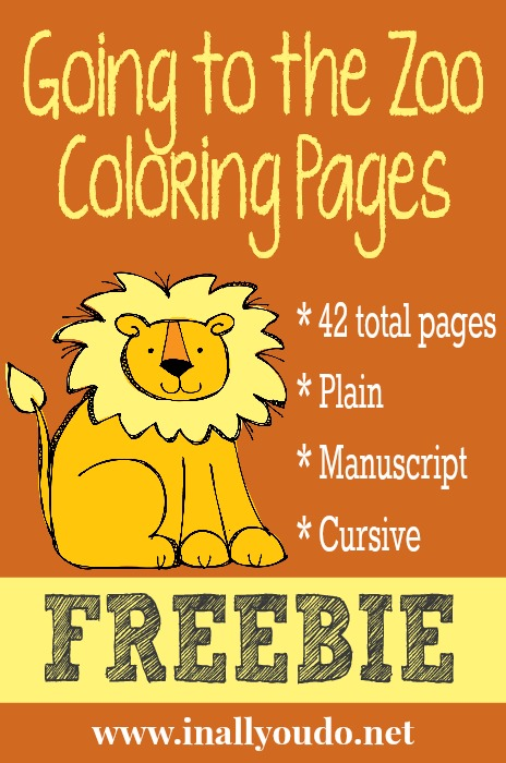 Going to the Zoo Coloring Pages FREEBIE