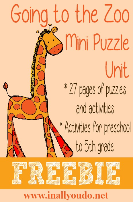 Going to the Zoo Mini Puzzle Unit FREEBIE