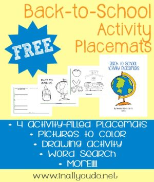Back to School Activity Placemats