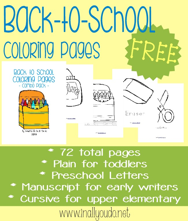 These FREE Back to School Coloring Pages are great as an addition to any first day of school celebration. It includes 18 total coloring pages in 4 different handwriting styles for a total of 72 fun pages. :: www.inallyoudo.net