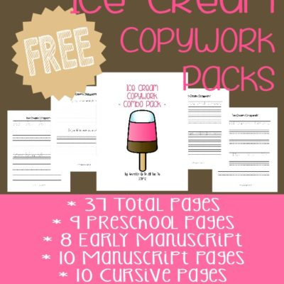 Ice Cream Copywork {free printables}