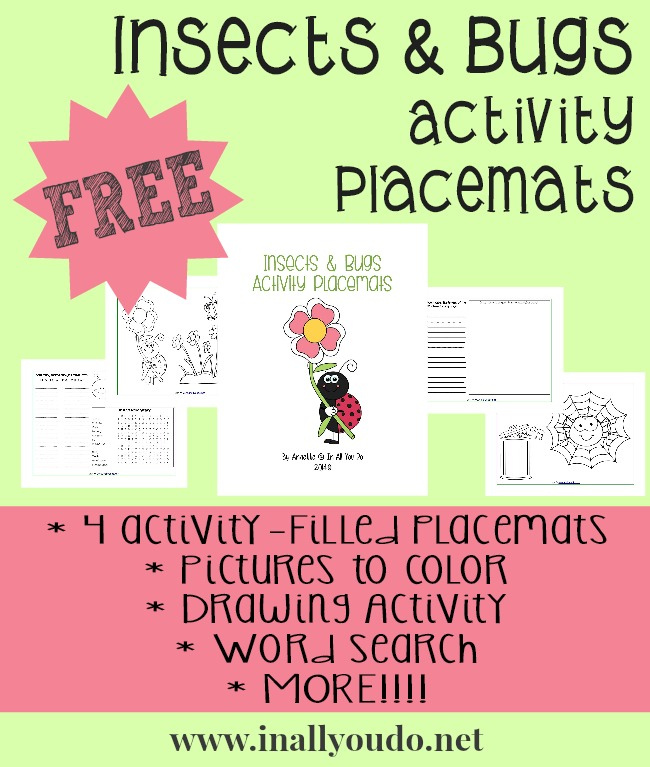 FREE Insects & Bugs Activity Placemats