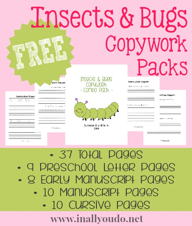 FREE Insects & Bugs Copywork Printables