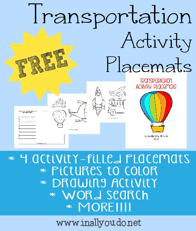 FREE Transportation Activity Placemats