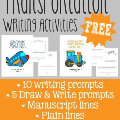 Transportation Writing Activities {freebies}