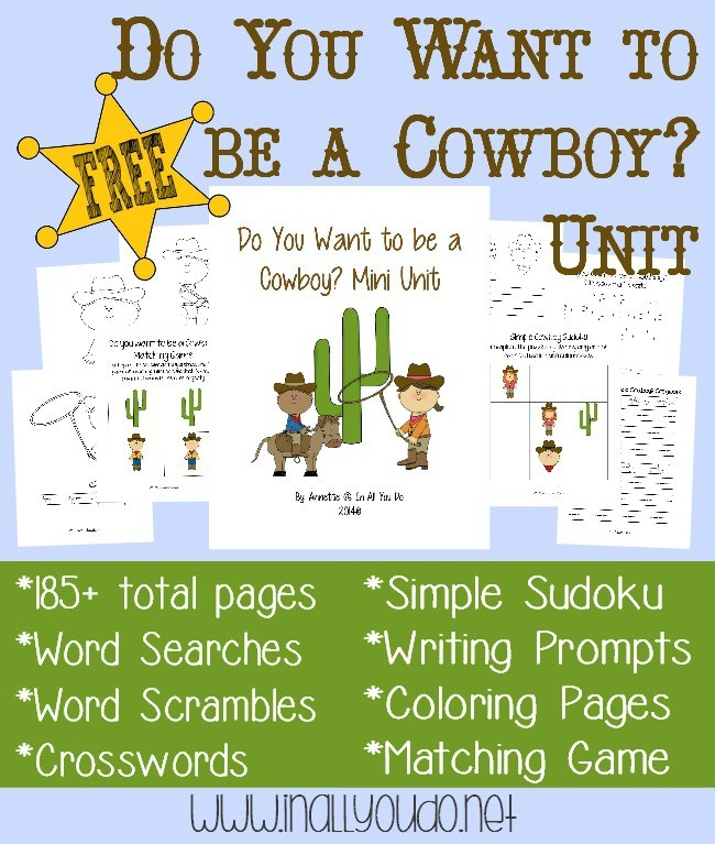 Any kid who loves to play cowboys will enjoy this fun-filled unit!! Includes 185+ pages of activities!! :: www.inallyoudo.net