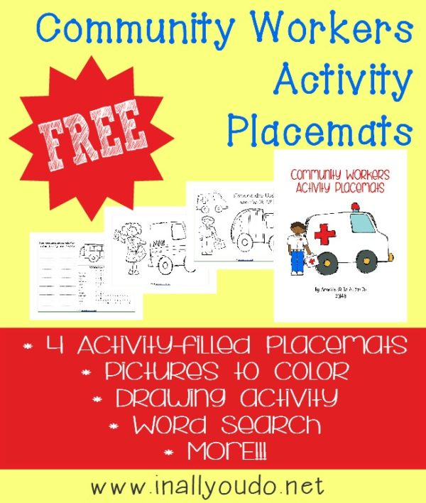 During your Community Workers unit, give kids some fun printables and activities while they eat with these Activity Placemats! :: www.inallyoudo.net