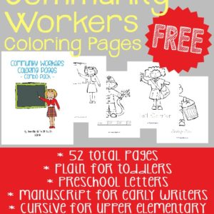 Introduce children to the different Community Workers in your town with these coloring pages. Includes plain, preschool letters, dotted manuscript and cursive. :: www.inallyoudo.net