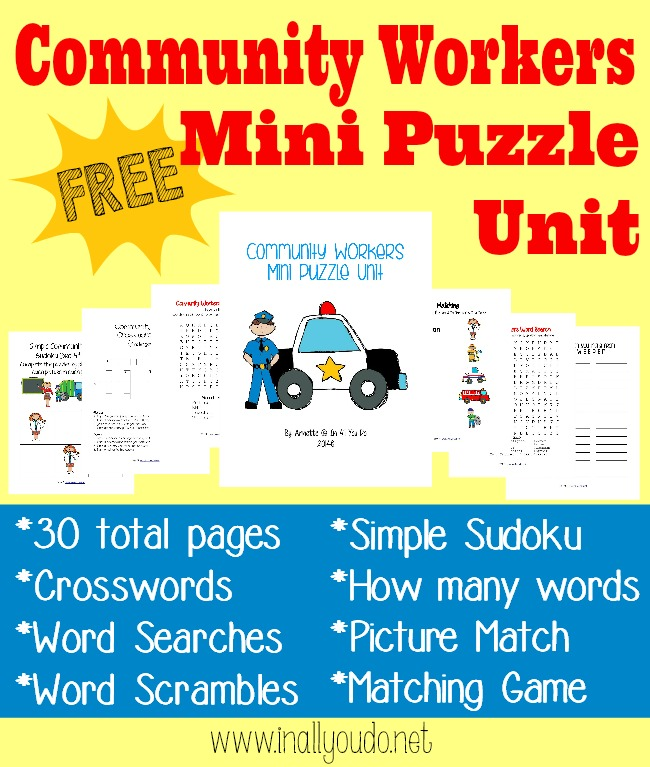 Kids will love working through these puzzles and activities as they learn more about the community workers in their town. :: www.inallyoudo.net