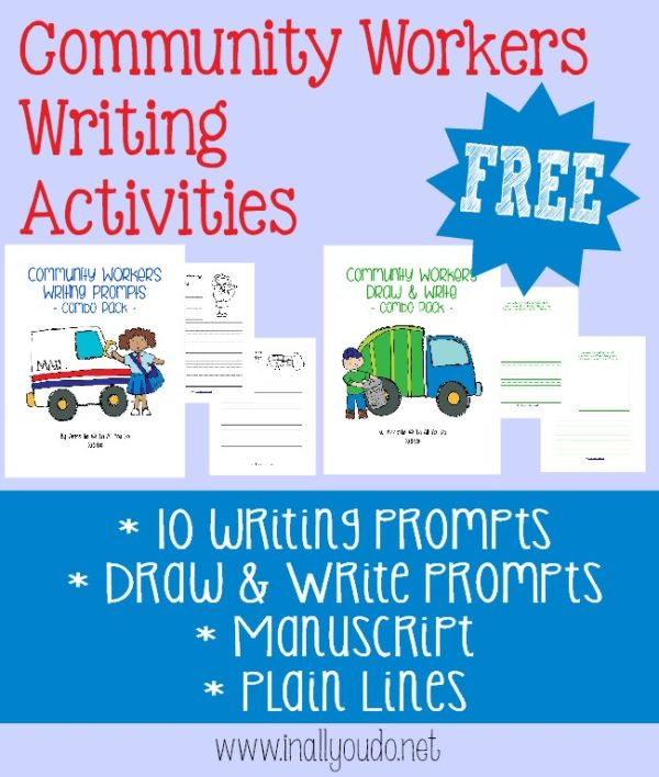 Kids will learn more about the different jobs of community workers through these Writing Activities. Includes writing prompts and draw & write prompts in both dotted manuscript and plain lines. :: www.inallyoudo.net
