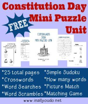 Constitution Day Mini Puzzle Unit