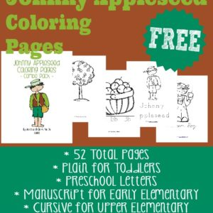 Introduce kids to Johnny Appleseed with these adorable coloring pages. Available in 4 different styles. :: www.inallyoudo.net