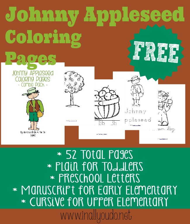 picture regarding Johnny Appleseed Printable Story called Johnny Appleseed Coloring Internet pages - In just All Your self Do