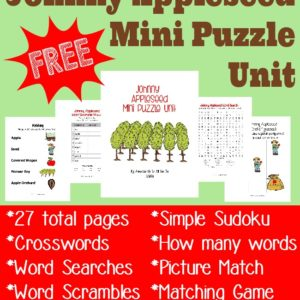Are you studying Johnny Appleseed this year? Grab this free mini puzzle & activity unit for PreK-5th grade. :: www.inallyoudo.net