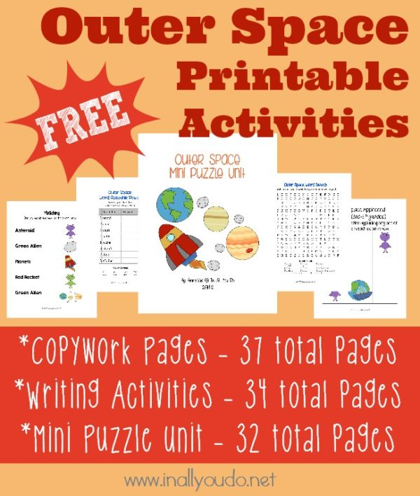 Kids will love learning about outer space with these copwork pages, writing activities and mini puzzle unit. :: www.inallyoudo.net