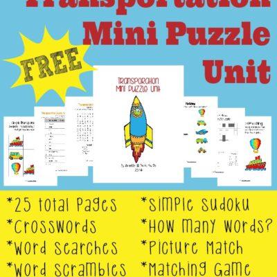 {free} Transportation Mini Puzzle Unit