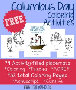 Columbus Day is coming up October 11th. Have a fun day learning and celebrating with these FREE Coloring Activities.
