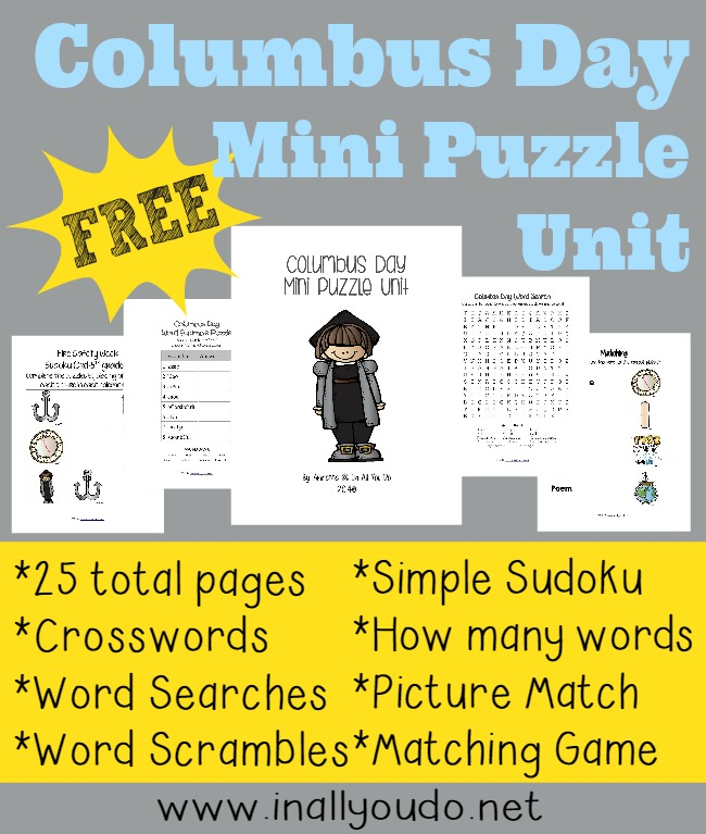 FREEBIE: Celebrate Columbus Day with these 25 pages of activities and puzzles for preschoolers thru 5th grade!!