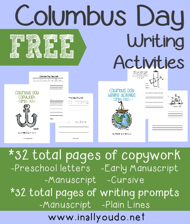 Kids will enjoy learning and celebrating Columbus Day with these fun Writing Prompts, Draw-then-Write prompts and Copywork for preschoolers - 5th grade.