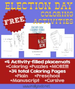 Election Day coloring activities sample pages