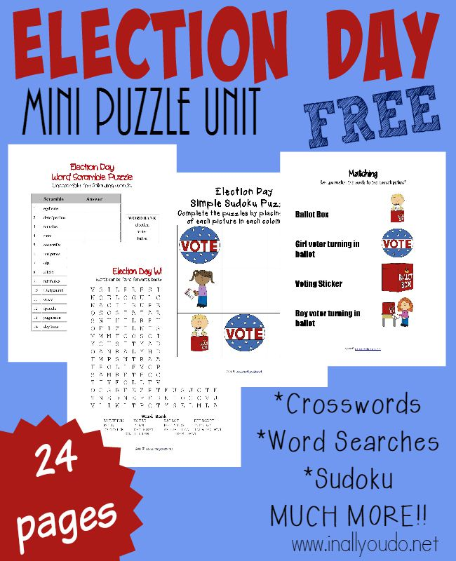 October always has an election. Whether city, state or national - there is an election. Use this FUN Election Day puzzle & Activity pack to help teach kids more about elections and their role in our country. {FREE 24 pages} :: www.inallyoudo.net