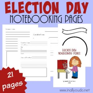 Election season is coming up and it's never too early to learn about the process of politics. Use the FREE Notebooking Pages to help kids learn more about candidates, offices or politics in general. :: www.inallyoudo.net