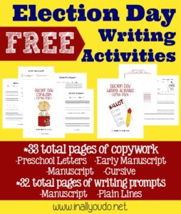 Images of Election Day pritnables - writing prompts and copywork - 65 total pages of activities