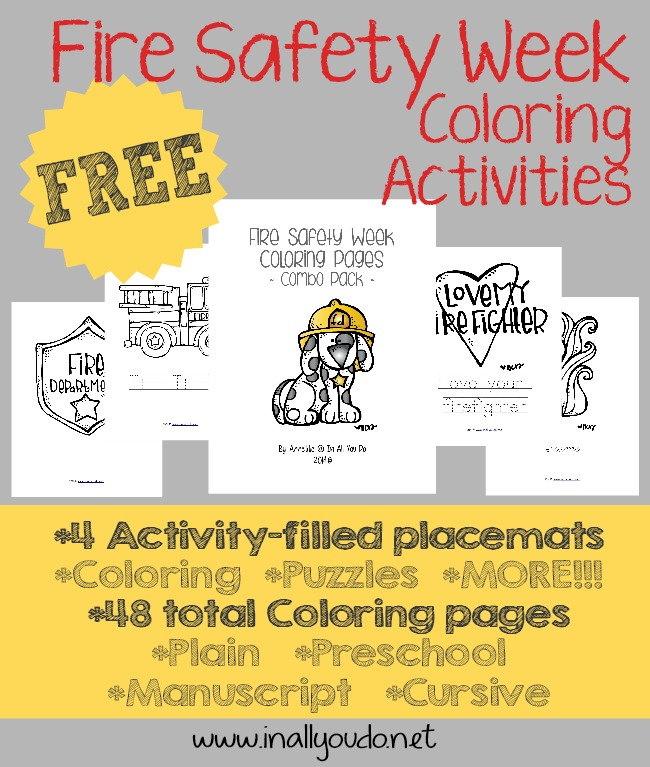 Use these fun coloring activities to teach kids about Fire Safety this year. Includes 4 activity-filled placemats & 48 coloring pages!