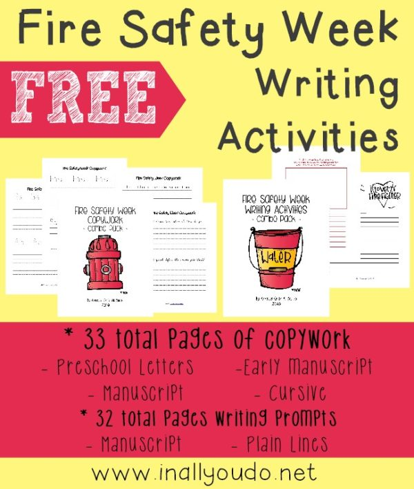 Help kids learn more about Fire Safety with these writing activities. Includes copywork for PreK-5th and Writing Prompts for kids of all ages! :: www.inallyoudo.net