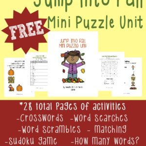 Fall is just around the corner and this fun mini puzzle unit will help your kids Jump Into Fall. Includes 28 pages of crosswords, word searches, word scrambles, matching game, picture match and MORE!! :: www.inallyoudo.net
