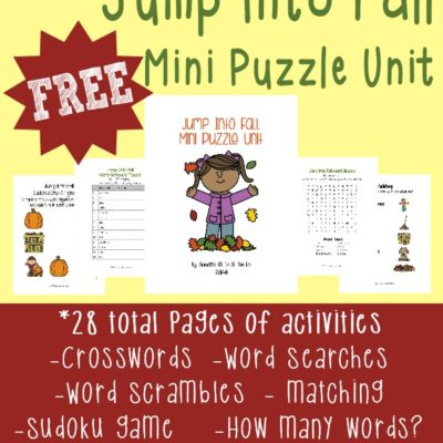 Jump Into Fall Mini Puzzle Unit