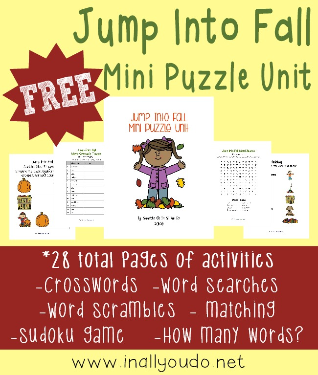 Fall is just around the corner and this fun mini puzzle unit will help your kids Jump Into Fall. Includes 28 pages of crosswords, word searches, word scrambles, matching game, picture match and MORE!!