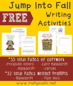 Writing activities are a great way to help kids work on their handwriting while being creative and increasing their imagination. These fall themed writing activities include copywork as well as draw & write prompts for kids PreK-5th grade. :: www.inallyoudo.net