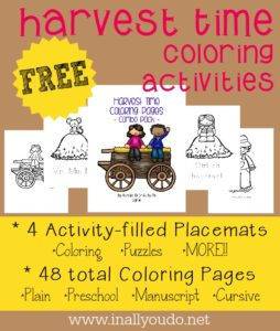 {FREE} Harvest Time Coloring Pages and Activity Placemats are perfect for this Fall season!