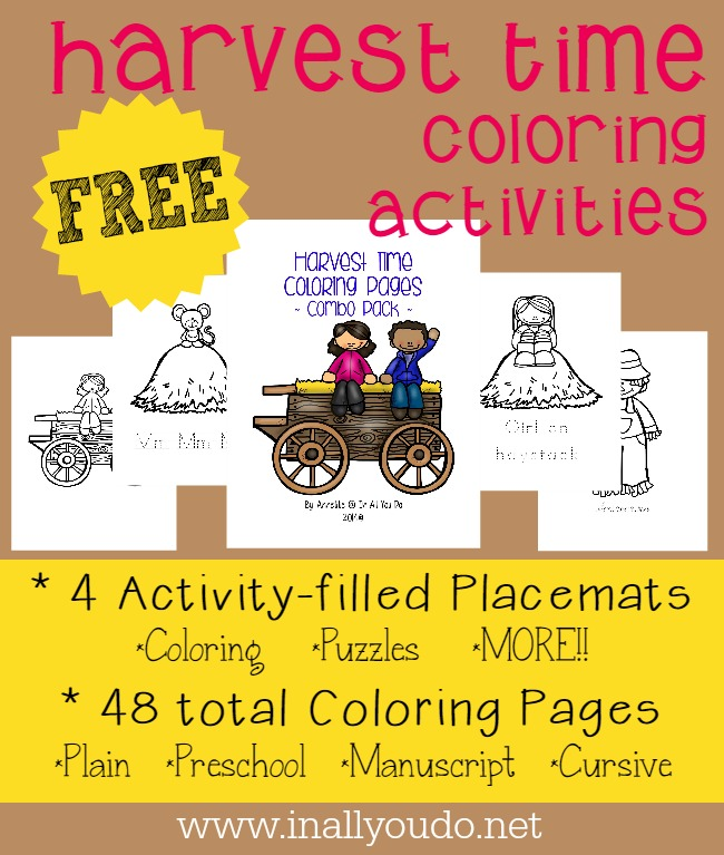 These FREE Harvest Time Coloring Pages & Activity Placemats are perfect for this Fall season! Choose from 4 activity-filled placemats or 48 coloring pages!