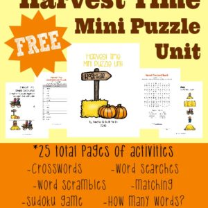 This {free} Mini Puzzle Unit includes 25 total pages of puzzles and activities to help kids learn more about Harvest Time. Includes levels for beginners and upper elementary.