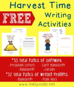 """These {FREE} Harvest Time writing prompts and copywork pages (including the poem """"The Harvest Moon"""" by Henry Wadsworth Longfellow) are a great way to improve kids creative writing skills while having fun at the same time!"""