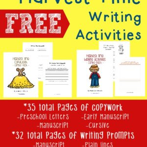 "These {FREE} Harvest Time writing prompts and copywork pages (including the poem ""The Harvest Moon"" by Henry Wadsworth Longfellow) are a great way to improve kids creative writing skills while having fun at the same time!"