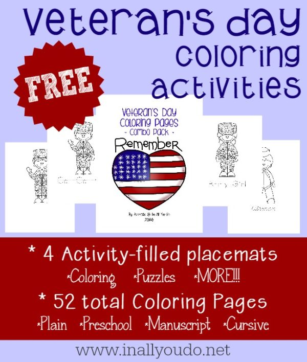 Use these fun coloring activities to help teach your kids about Veteran's Day and the sacrifices that have been made for their freedom!
