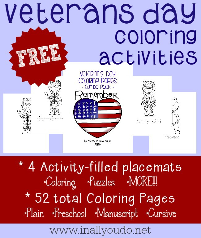 Introduce kids to Veterans Day with these FREE Coloring Activities. Keep them or give them to a veteran this year as you thank them for their service. :: www.inallyoudo.net