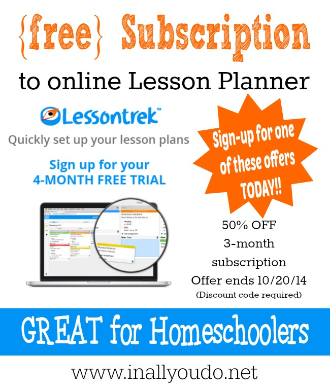 FREE Lesson Planner Subscription for 4-MONTH TRIAL!!! {Coupon Code required}