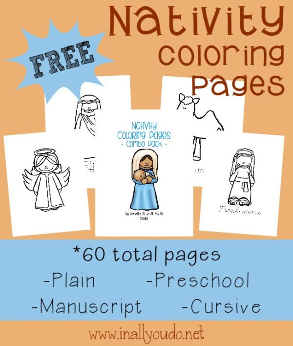 These Nativity Coloring pages will help teach your kids the True Meaning of Christmas this year and keep them focused on Jesus.The coloring 60 pages for Preschool to 5th grade that includes plain, preschool letters, dotted manuscript and cursive. :: www.inallyoudo.net